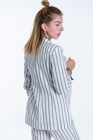 Linen co-ord blazer with grey stripes and 3/4 sleeves