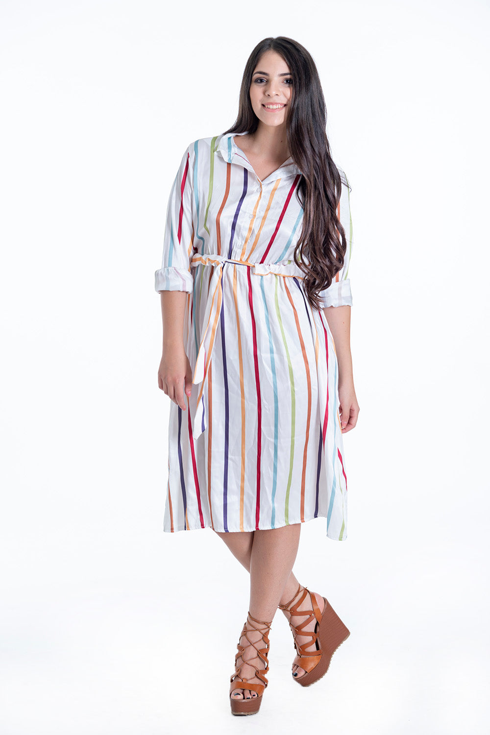 Soft shirt dress with colourful stripes