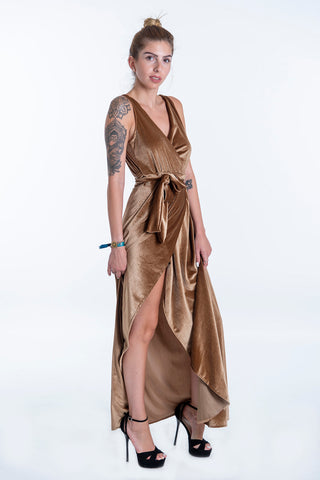 Pixie wrap front maxi dress with plunge