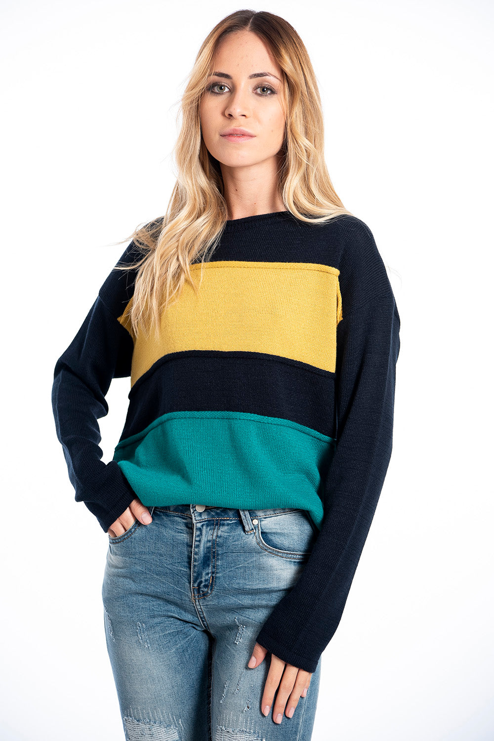 Infinity Knitwear colour block jumper