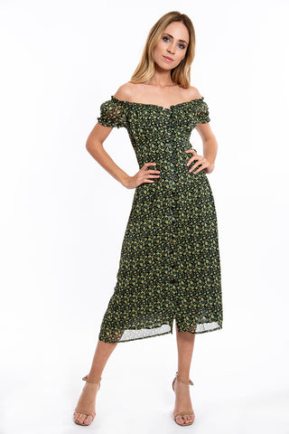 Glamorous floral midi dress with buttons