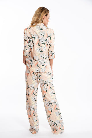 JoshV floral wide leg floral suit trousers