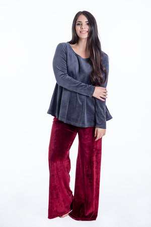 Pixie wide leg  velvet loungewear trousers