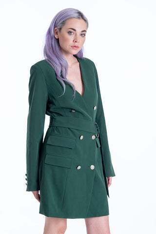 Attentif blazer dress V sharp lapel and double breasted buttons