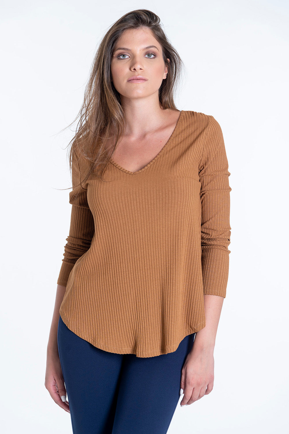 Ribbed top with 3/4 sleeves