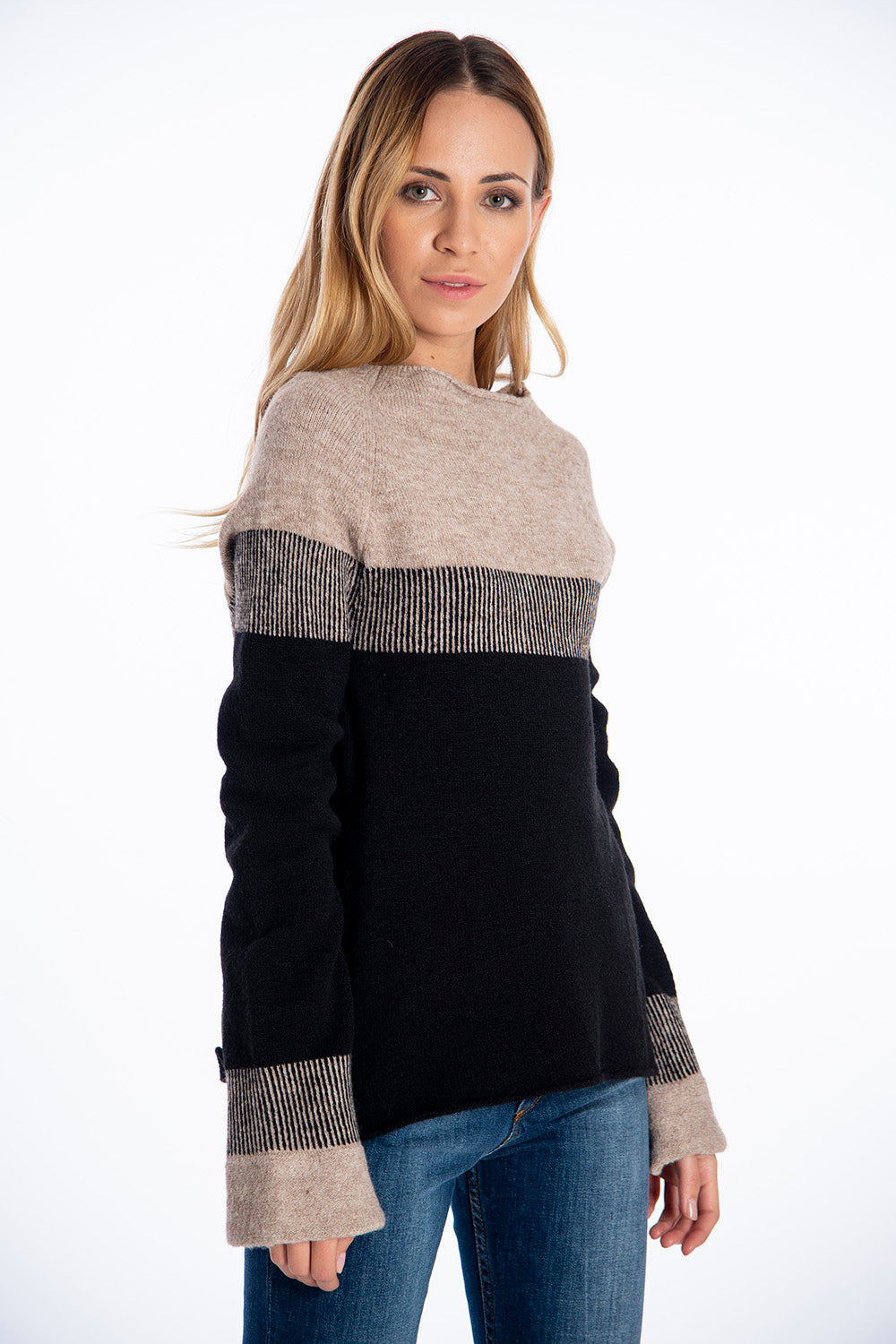 Infinity Knitwear boat neck jumper in natural colours