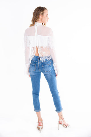 Paccio lace top with ruffles and long sleeves