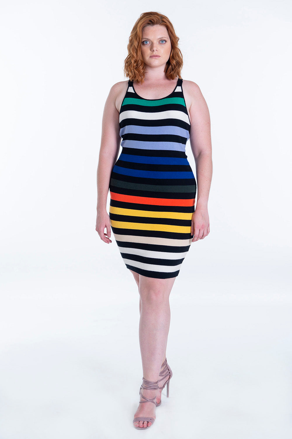 Glamorous midi colour stripes knitted dress with skinny straps