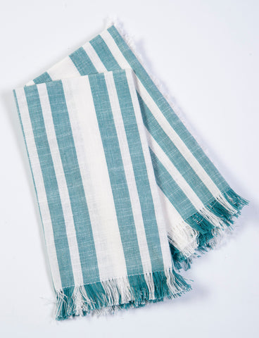 Cute mint and white table napkins with fringe
