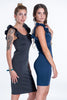 Bojo bodycon dress with frills on shoulders