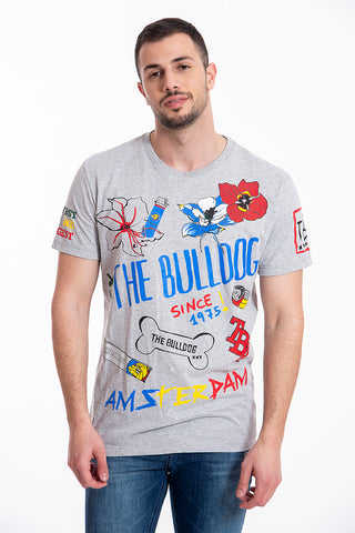 The Bulldog Amsterdam top with logo and floral prints