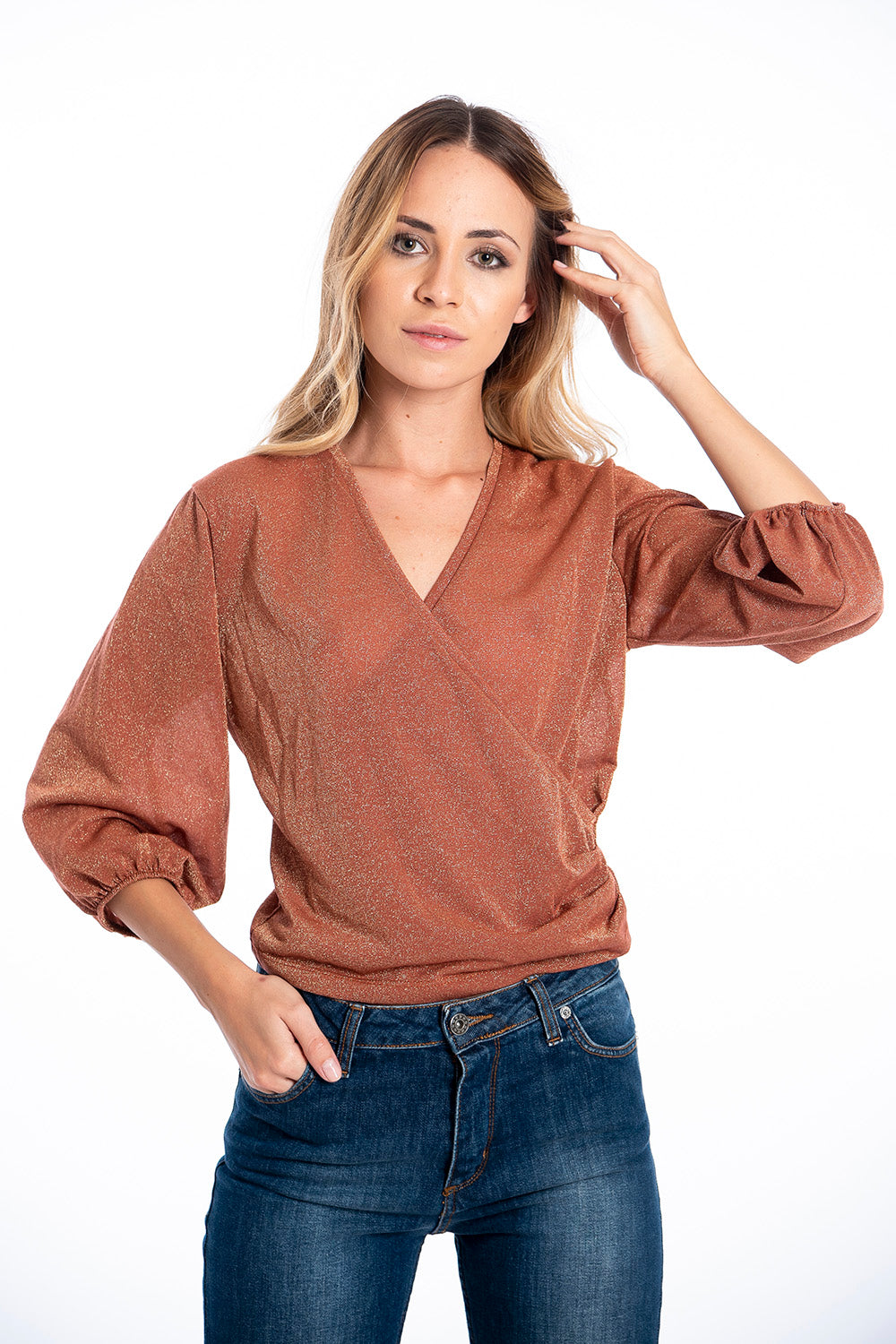 NúNu wrap front top with baloon sleeves
