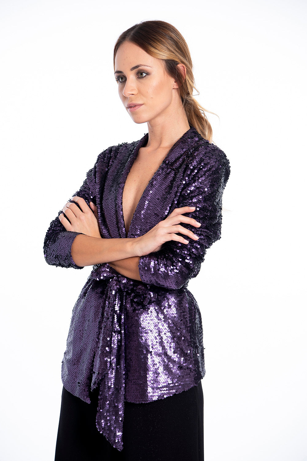 Glamorous purple sequin blazer with sequin belt