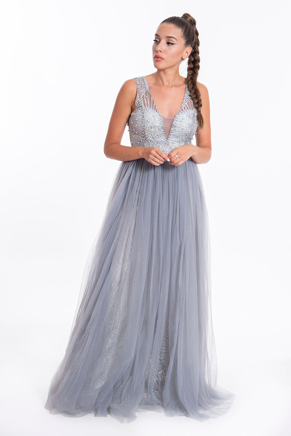 A line princess tulle sparkly dress