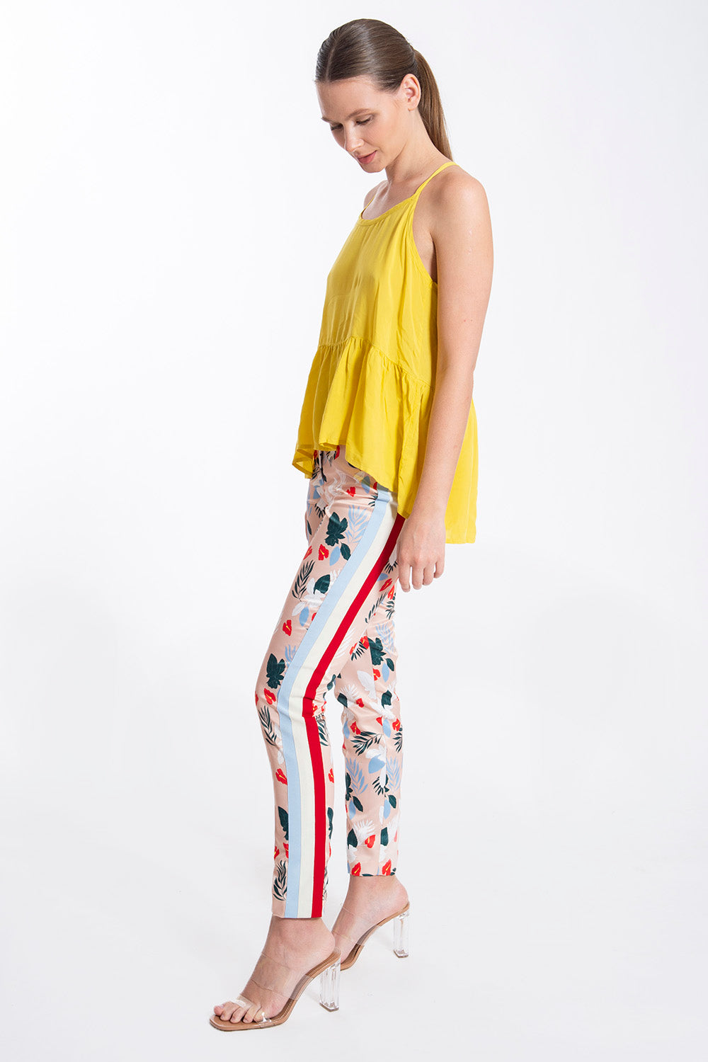 Relish straigt line floral trousers with stripes