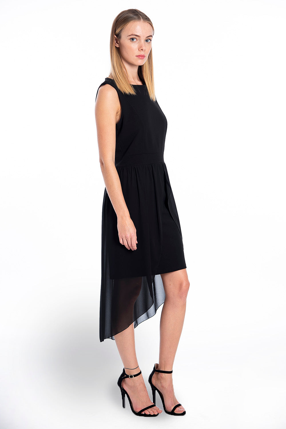 Akè sleeveless mini dress with chiffon layering