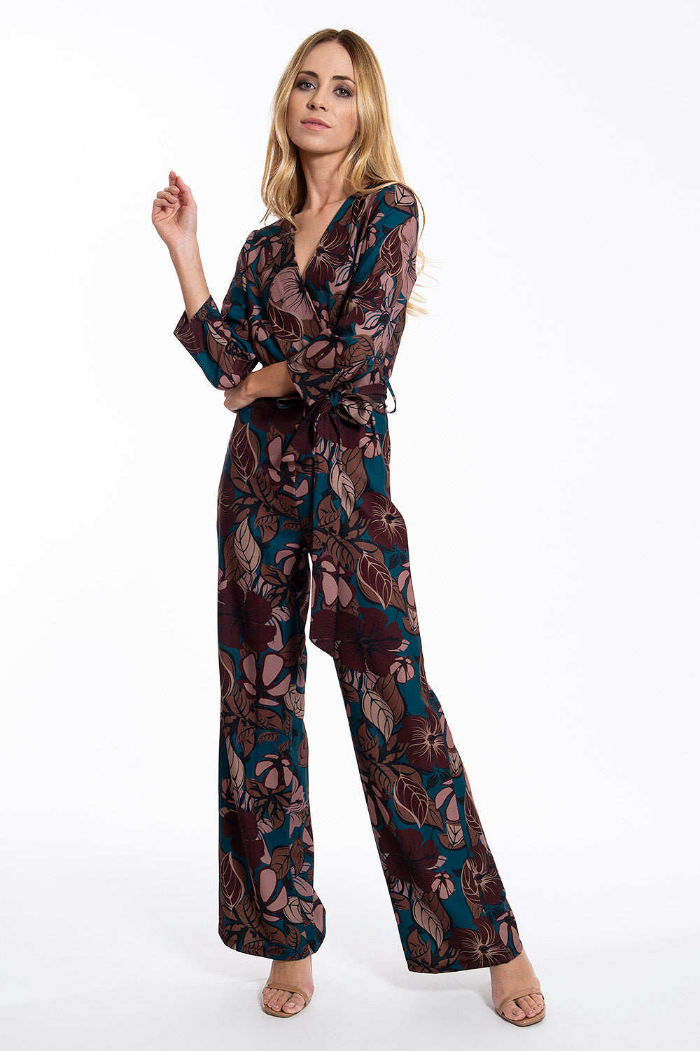 Akè floral wrap jumpsuit with 3/4 sleeves