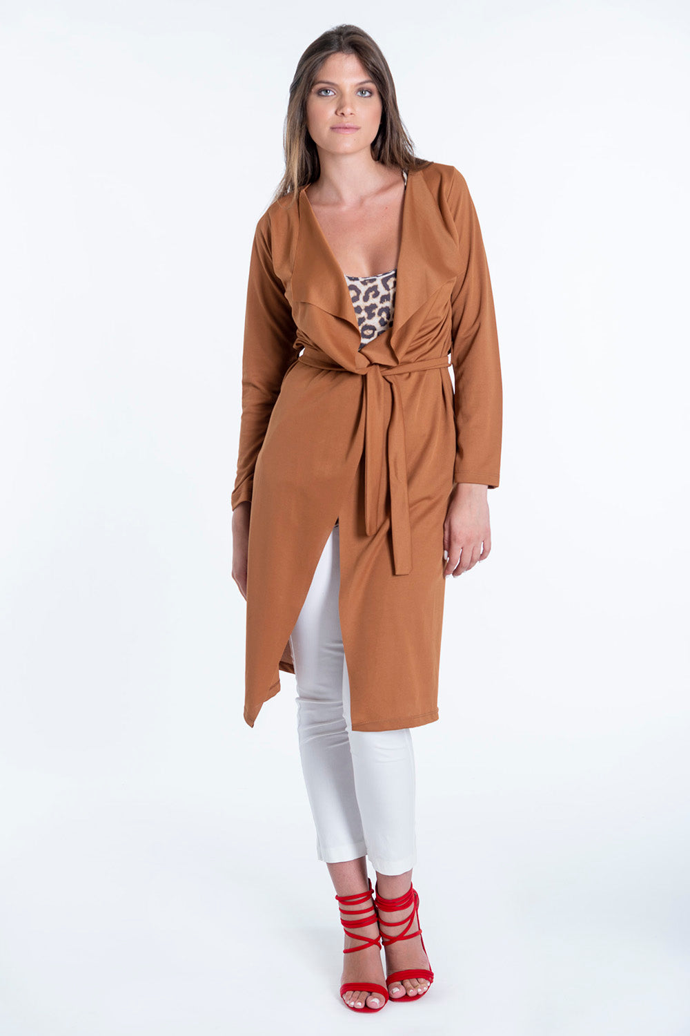 Open waterfall cardigan with belt