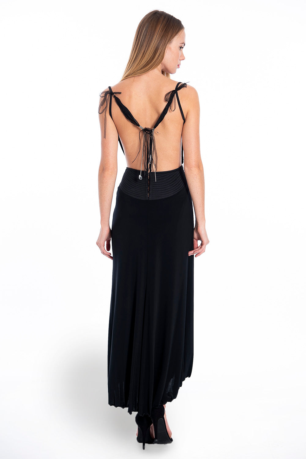 Midi open back dress with crystal detail