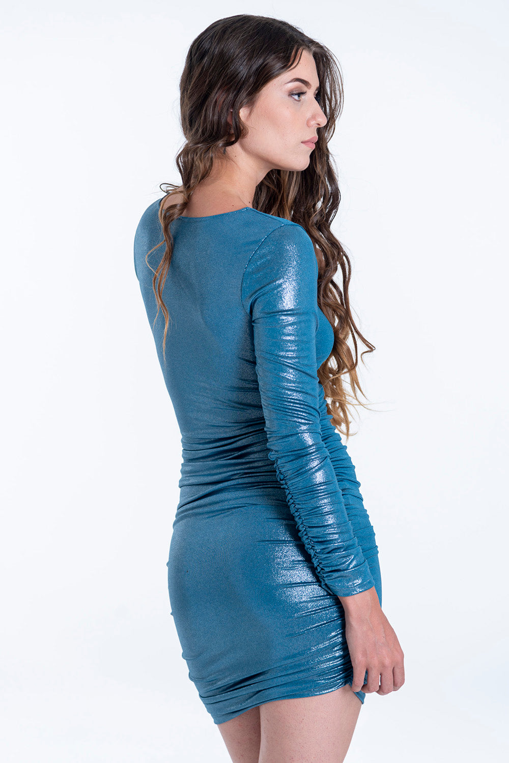 Bojo metallic dress with ruched side and sleeves