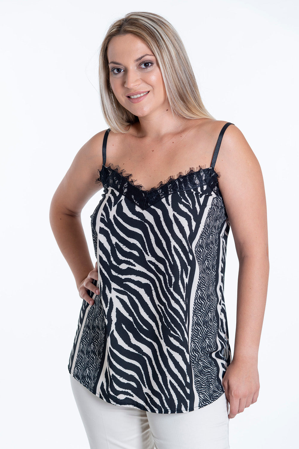 Akè zebra contrast top with lace detail and cami straps