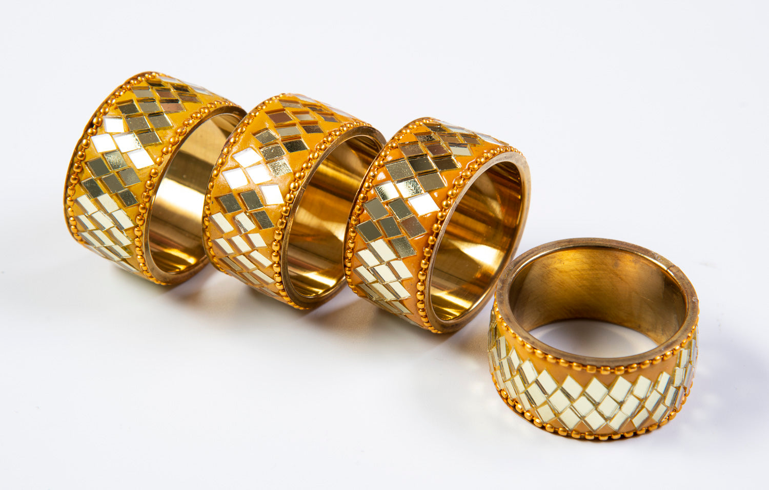 Set of 4 gold crystal napkin rings