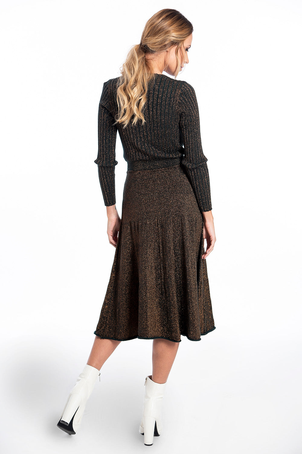 Dixie long sleeved midi metallic dress in wrap front