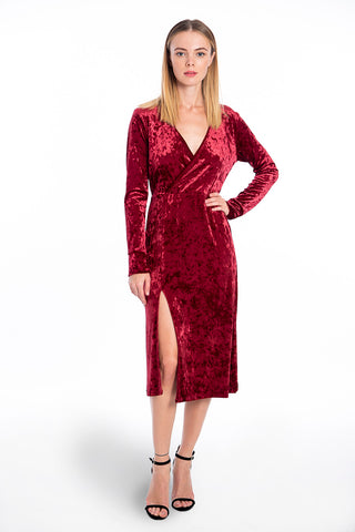 Miss miss midi velvet dress V front with long sleeves