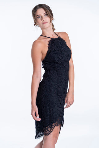 Glamorous asymmetric dress in lace and high neck and open back