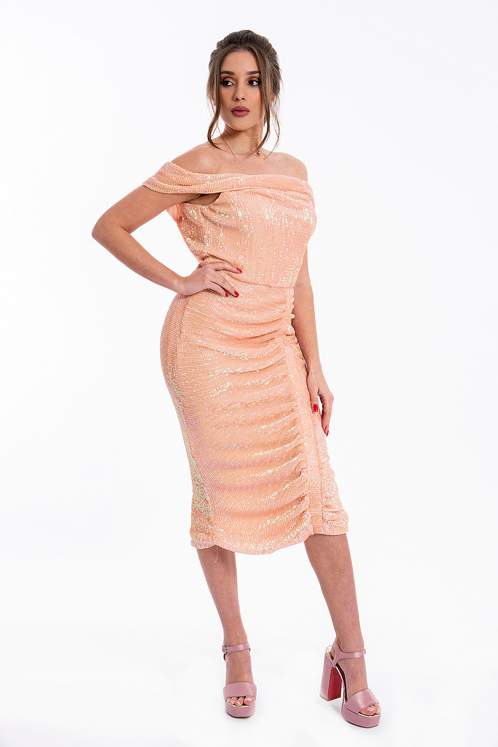 Lavish Alice off shoulder ruched midi dress in sequin