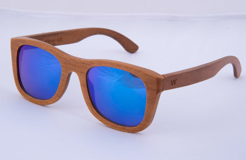 W by El Greco wooden retro squared sunglasses