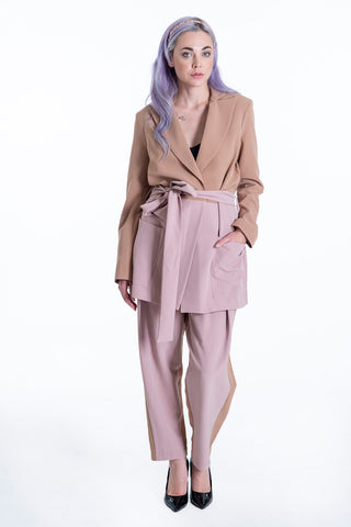 Lolamay co-ord pink panel blazer with belt