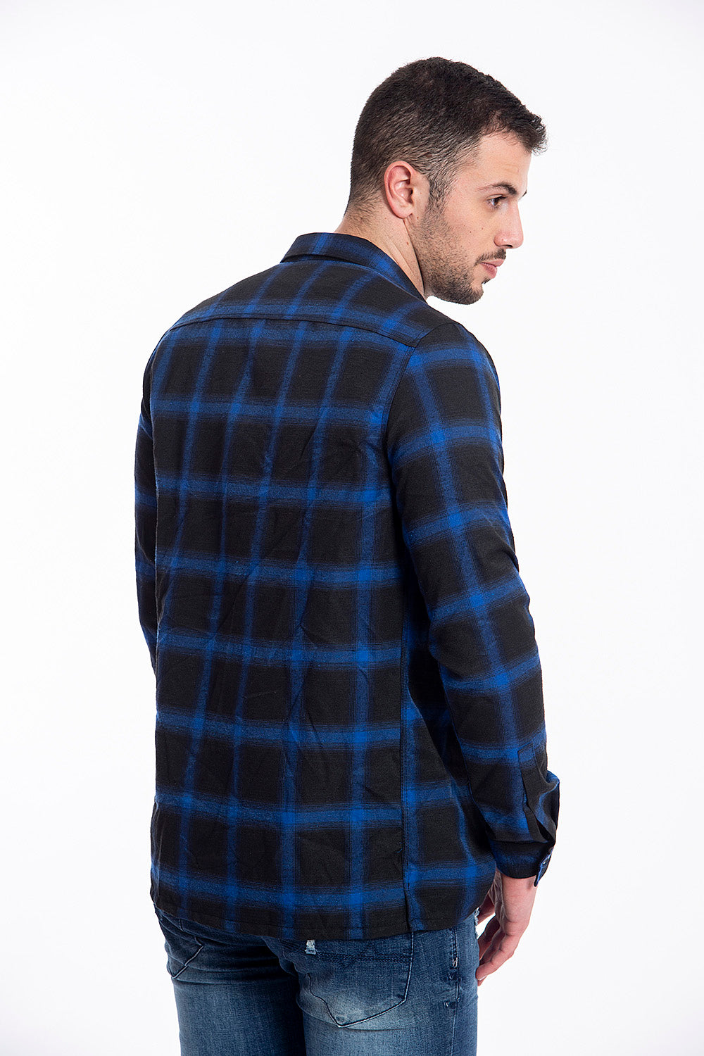 Outcome shirt coat in check pattern and zip