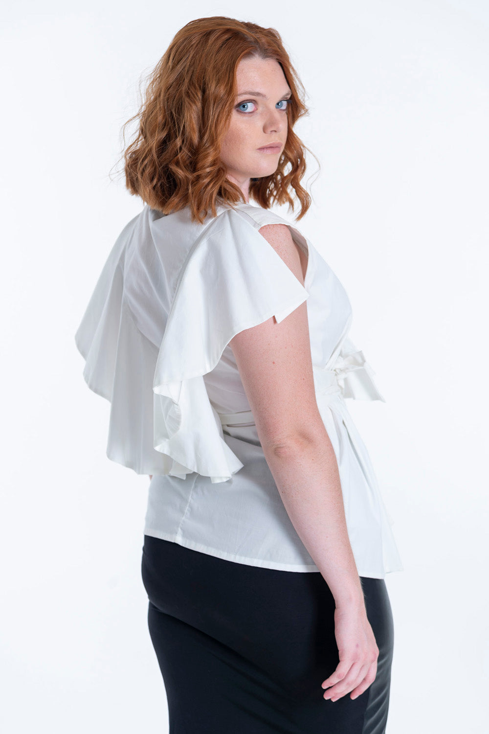 Seva wrap top with ruffle and waist tie