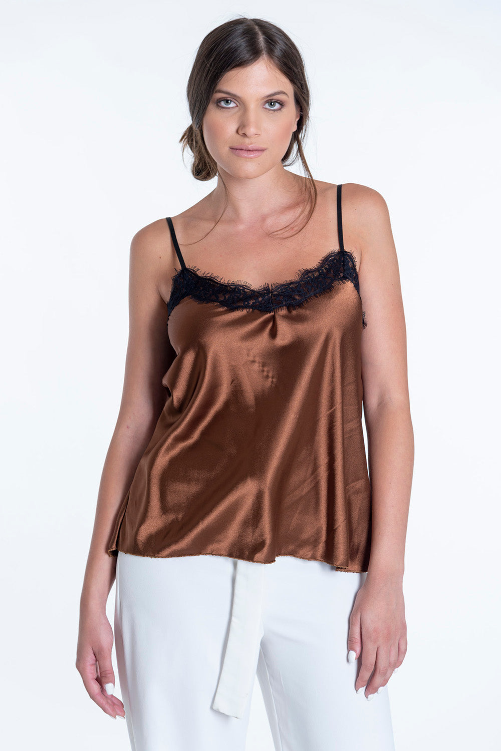 Cami silk top with lace details