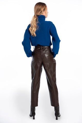 Patrizia Segreti high waist belted faux leather trousers