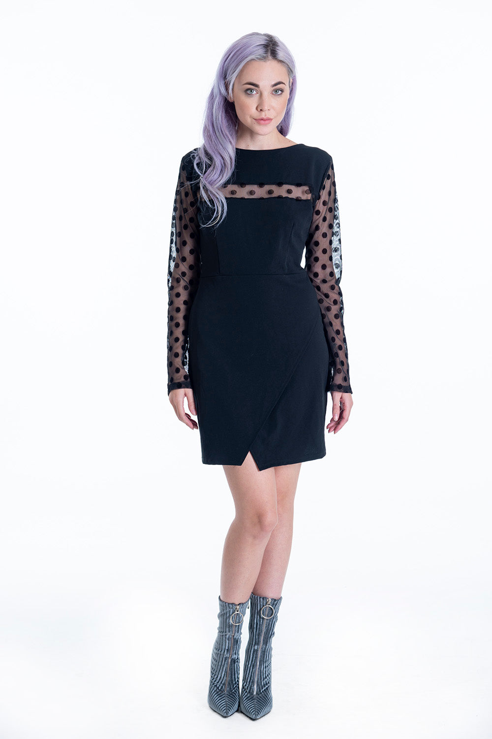 Mivite dress with polka see through sleeves