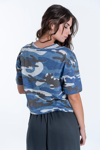 Hype camouflage crop top with second crop top insert