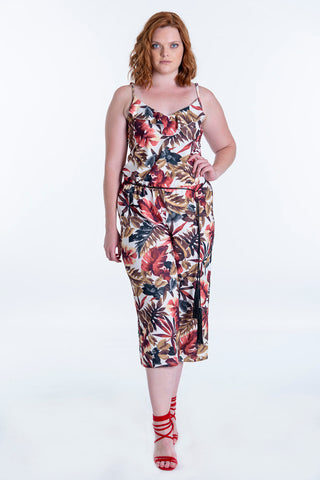 Chica Loca floral jumpsuit with wide leg