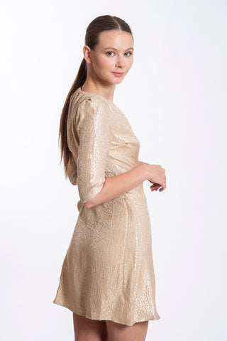 Natty wrap metallic mini dress