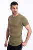 Long t-shirt in khaki with brand embroidery and fade stripes