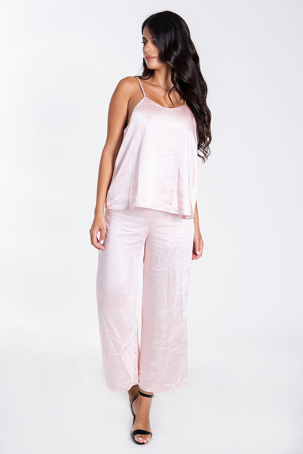 Sh baby pink silk cami top co-ord