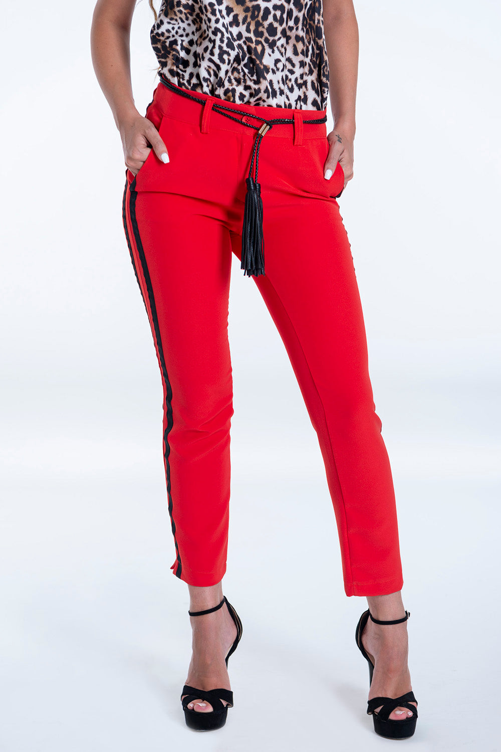 Red tailored trousers with black stripe