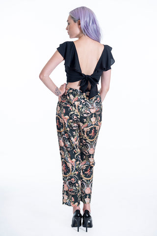 Milkwhite silky waistband trousers in vintage floral design