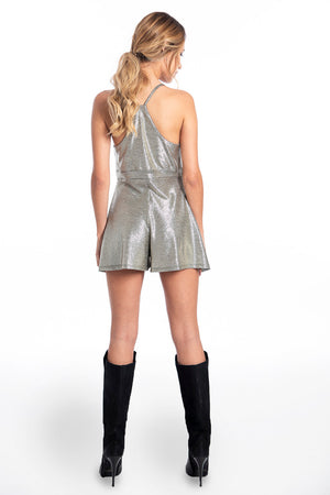 Akè metallic playsuit with cami straps