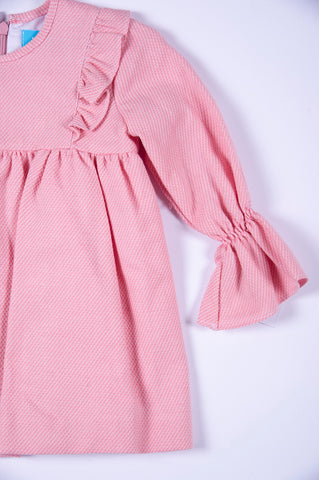 Tartatela pink and white pleated dress with frills