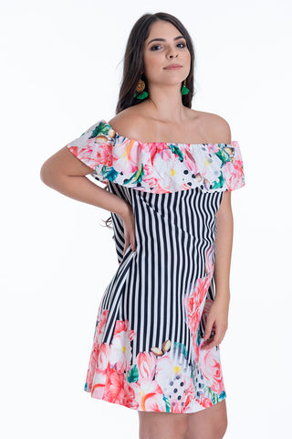 Sweet Miss floral and stripes bardot dress