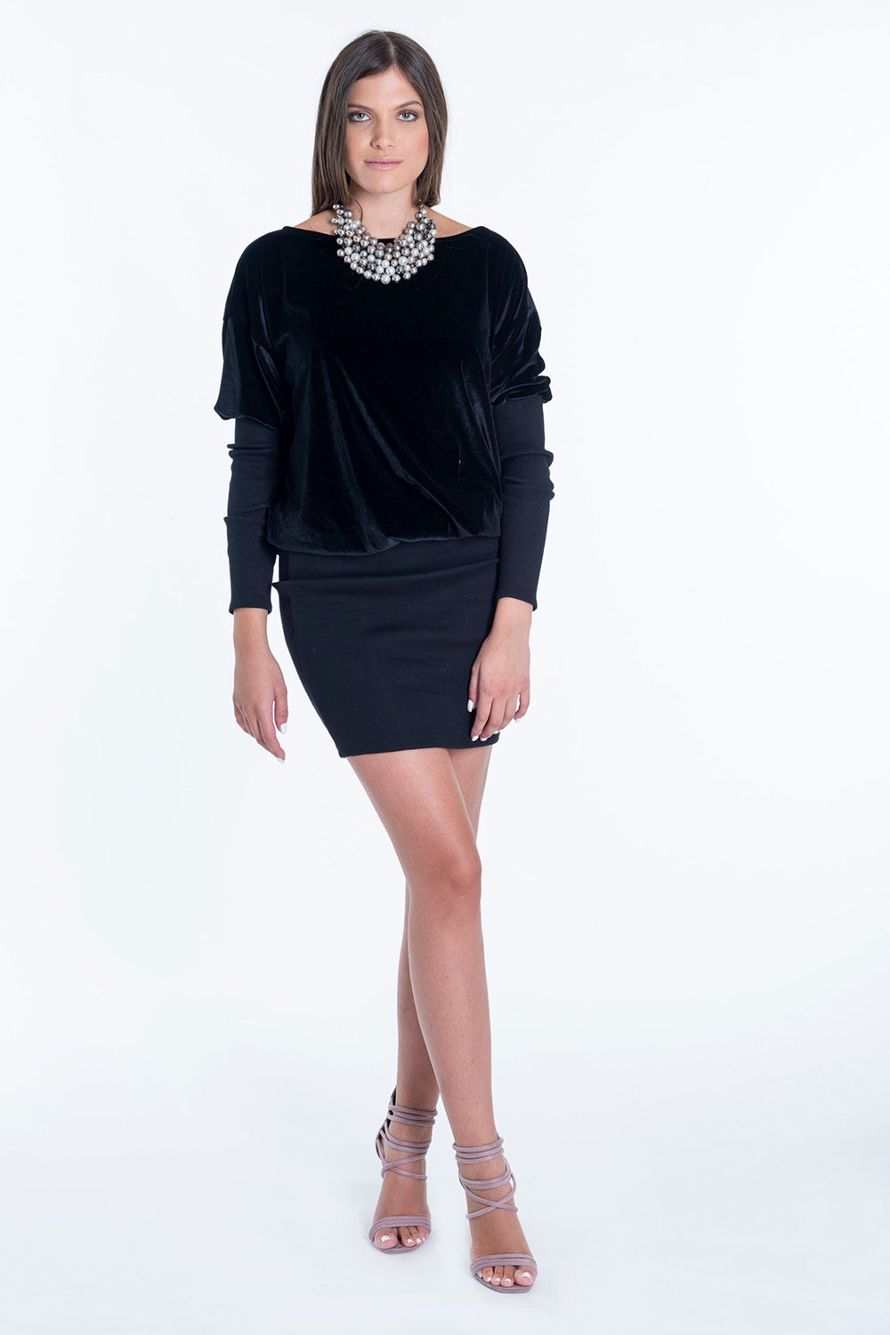 Pixie oversized velvet top with pencil bottom skirt