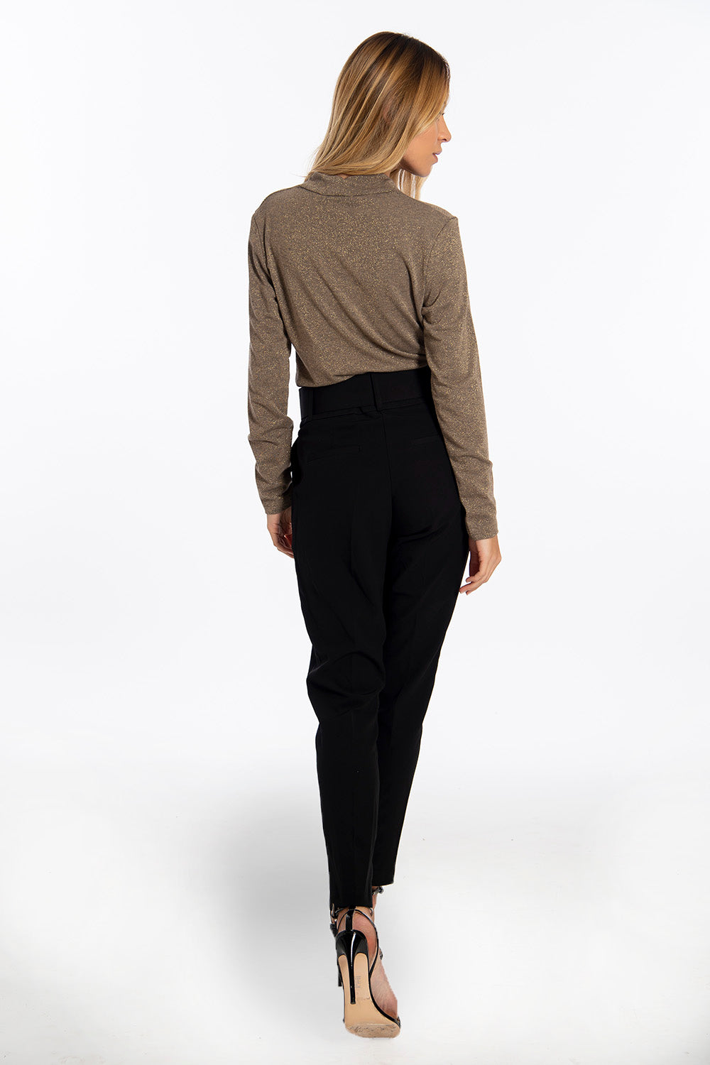 NúNu suited high waist trousers with belt