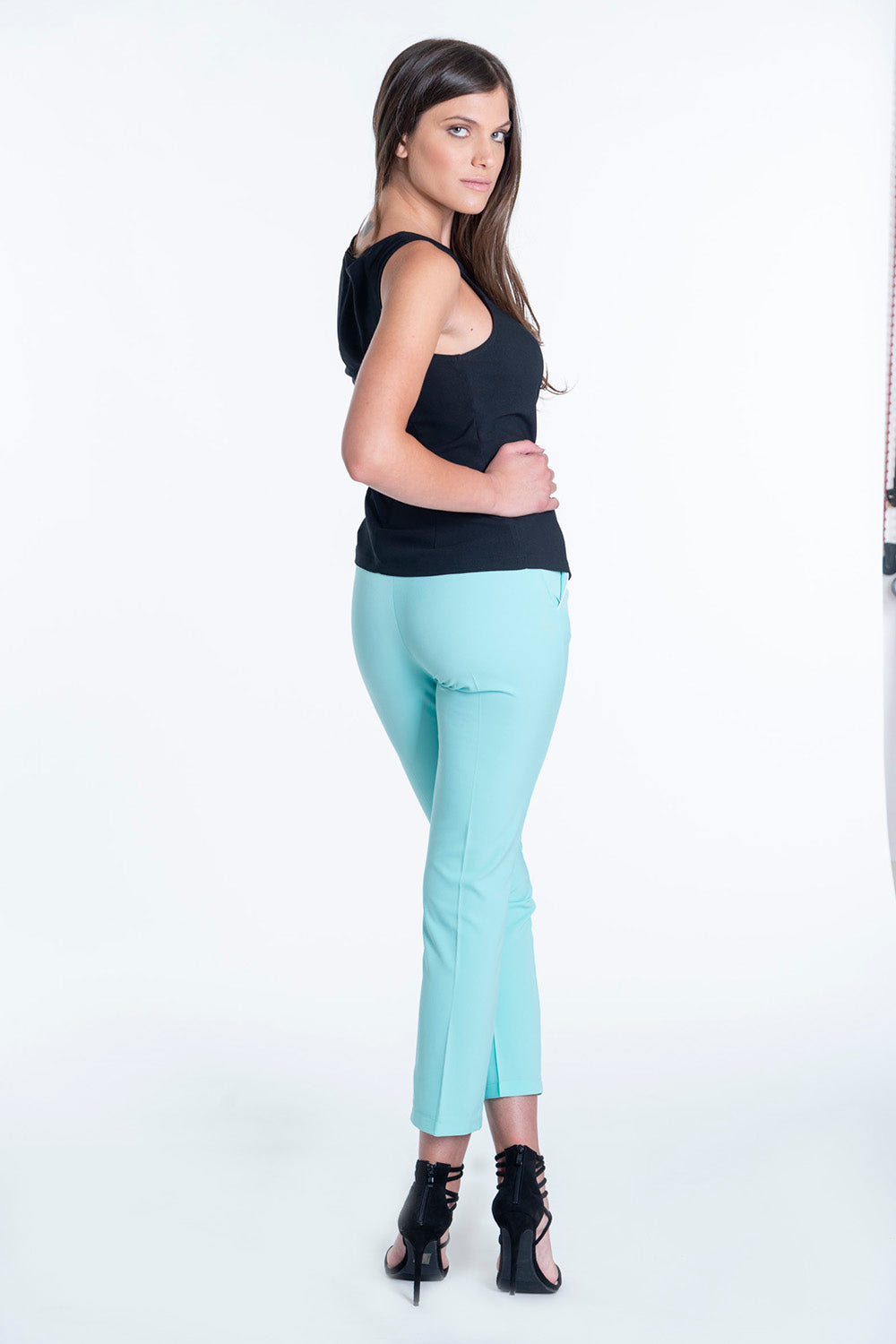 Exsy tirquoise tailored trousers with stripe detail